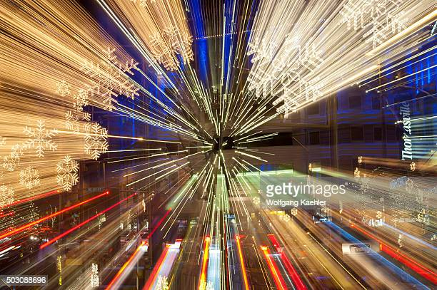 A night photo of the Snowflake Lane holiday decorations at Bellevue Square in downtown Bellevue Washington State USA