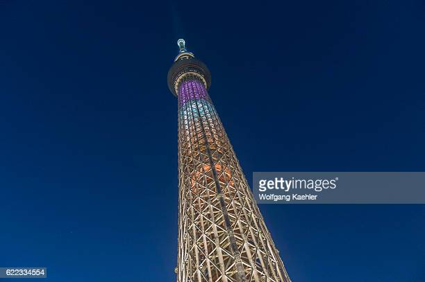 Night photo of the Tokyo Skytree is the tallest tower in the world and is a broadcasting restaurant and observation tower in Sumida Tokyo Japan