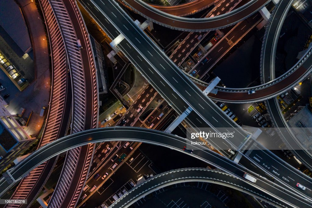 Night photograph of complicated intersecting highway. : Stock Photo