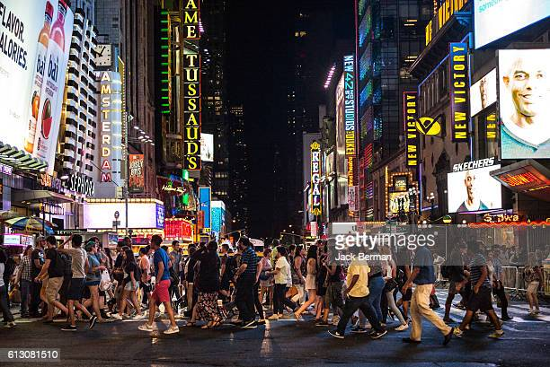 nyc night - broadway manhattan stock photos and pictures