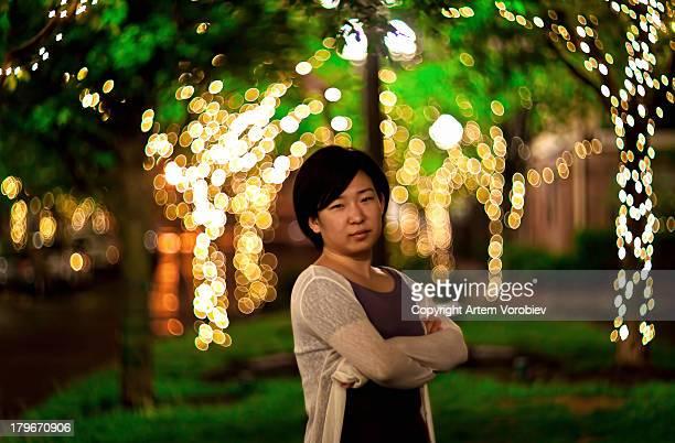 Night portrait of a Korean girl