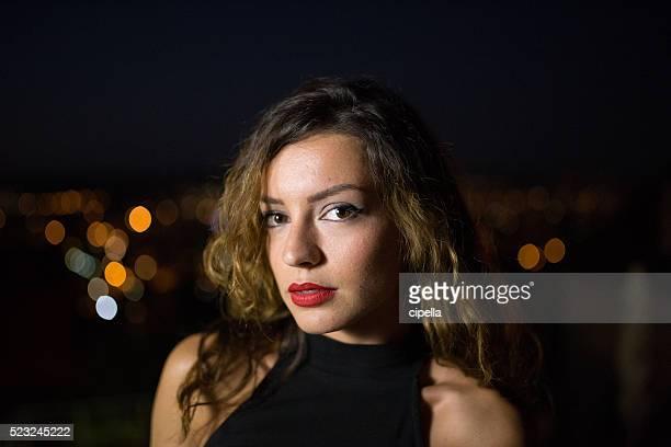 Night Portrait of beautiful woman