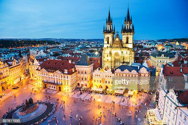 night prague - old town square - eastern european stock pictures, royalty-free photos & images