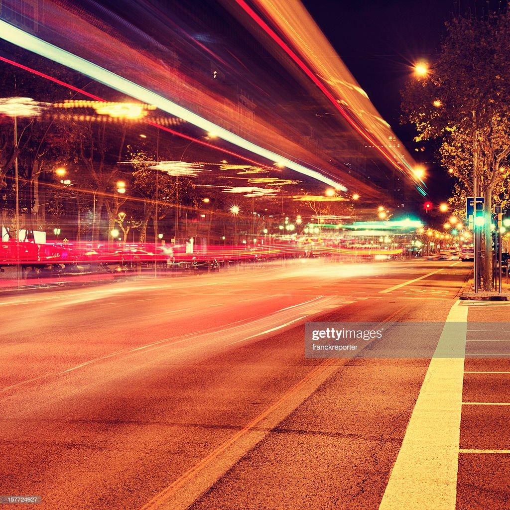 Night rail on the Barcelona traffic : Stock Photo