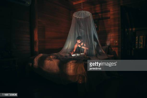 night reading session - netting stock pictures, royalty-free photos & images
