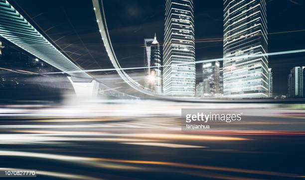 night rush traffic,shanghai - blurred motion stock pictures, royalty-free photos & images