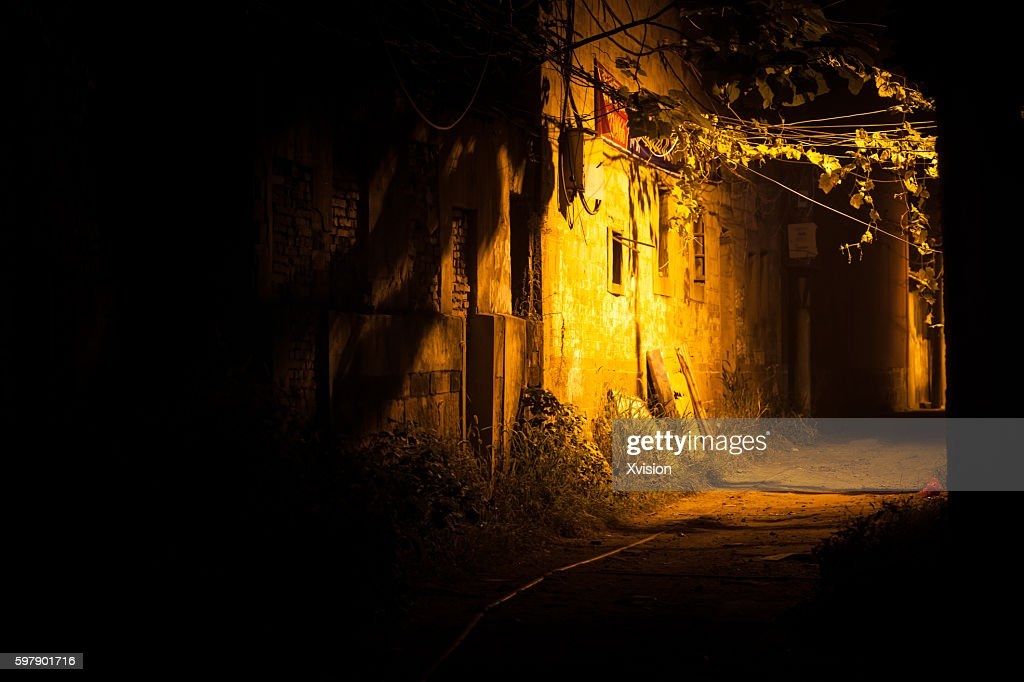 Night scence of the abandoned area wenchangli in Fuzhou city,China : Stock Photo