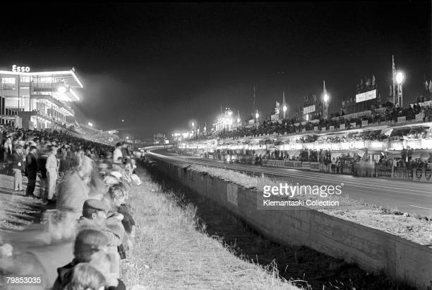 A night scene at the pits during The Le Mans 24 Hours race at Le Mans June 1819 1966