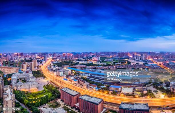 night scene in wuhan,china - wuhan stock pictures, royalty-free photos & images