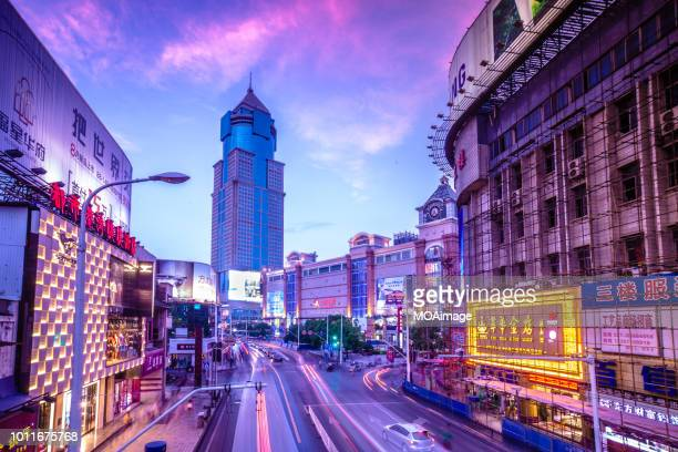night scene in wuhan,china - wuhan stock photos and pictures