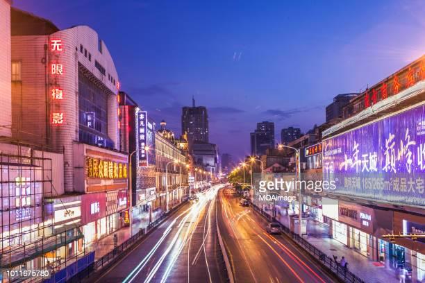 night scene in wuhan,china - ciudad de wuhan fotografías e imágenes de stock