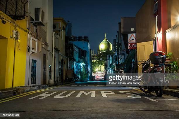 A night scene of Singapore Masjid Sultan Mosque in Arab Street