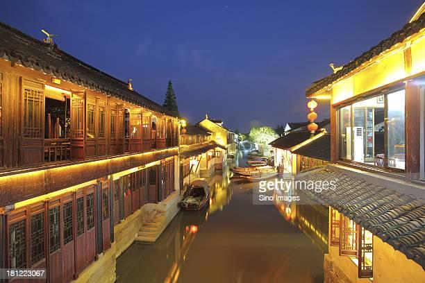 Night scene of Zhouzhuang, ancient town, river, traditional architecture, Jiangshu