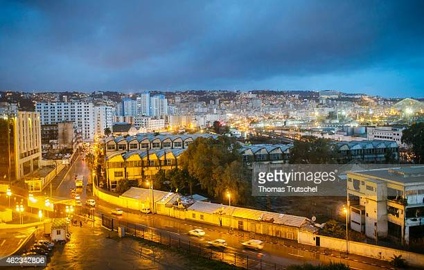 A night scene shows the city of Algiers on January 25 2015 in Algiers Algeria