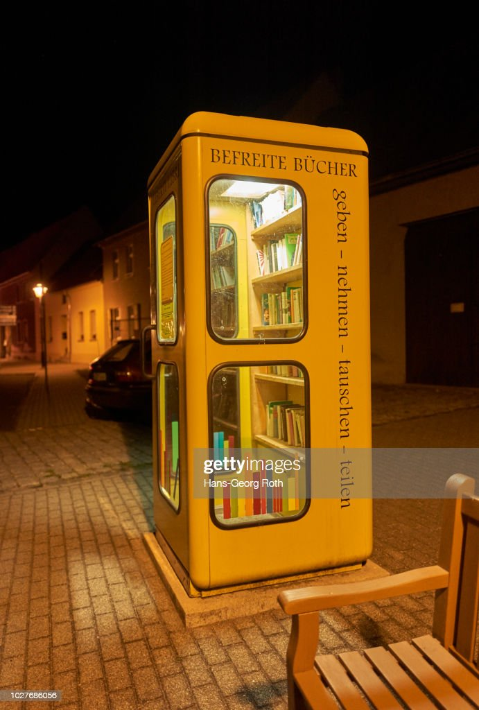 Night Scene With Old Phone Booth Of The Federal Post Office