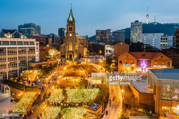 Night scenery of Myeongdong Catholic Cathedral (Famous travel destination) in Christmas season