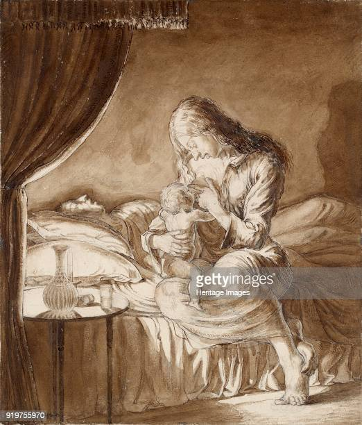 Night SceneWoman feeding her Child circa 1900s Artist Maxwell Gordon Lightfoot