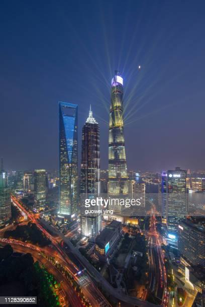 night shanghai skyline - 目的地 fotografías e imágenes de stock