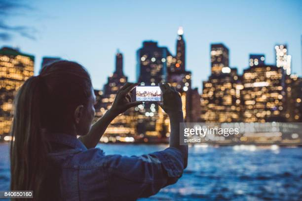 night shining on manhhatan - lower manhattan stock photos and pictures