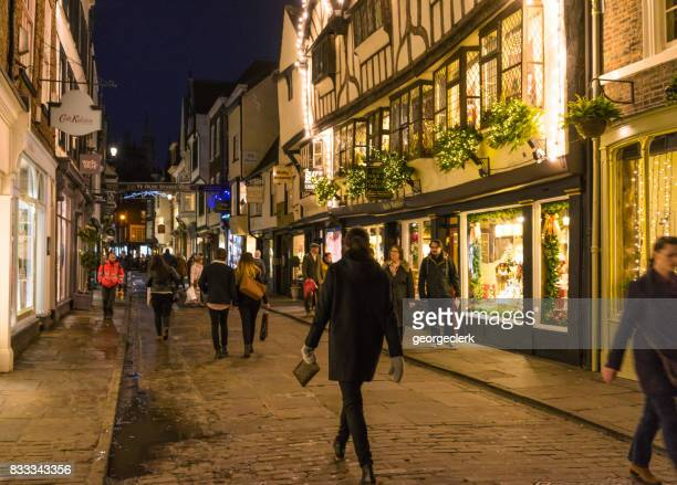 night shopping at christmas in york - york stock photos and pictures