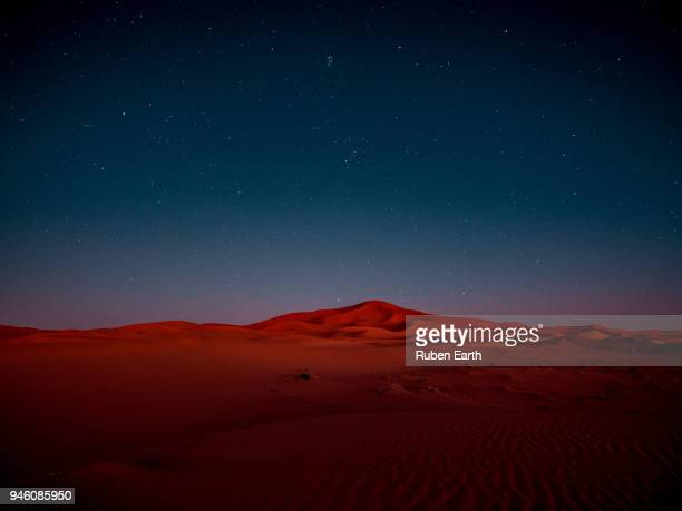 night shot at the sahara desert sand dunes - merzouga stock pictures, royalty-free photos & images