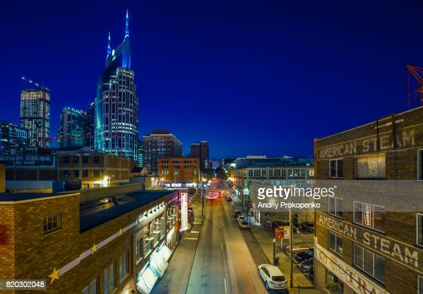 Night Shot of 2nd Avenue in Downtown Nashville, Tennessee, USA