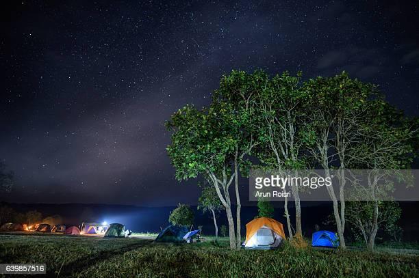 Night shot of a camping site at Thung salaeng Luang National Park (Nong Mae na), Thailand