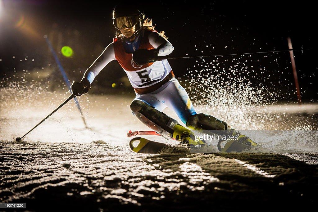 Night Shot of a Professional Alpine Skier Training : Stock Photo