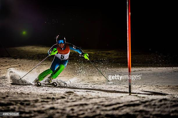 Night Shot of a Professional Alpine Skier Training