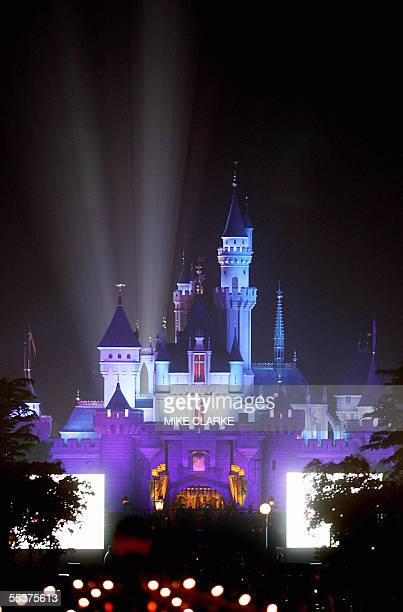 Night shot of Hong Kong's Disneyland castle 11 September 2005 The park will open to the general public on 12 September AFP PHOTO/MIKE CLARKE