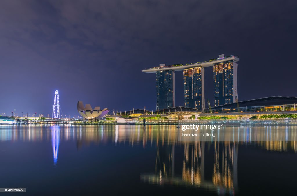 Night Shot Of Marina Bay City Scape Singapore Stock Photo