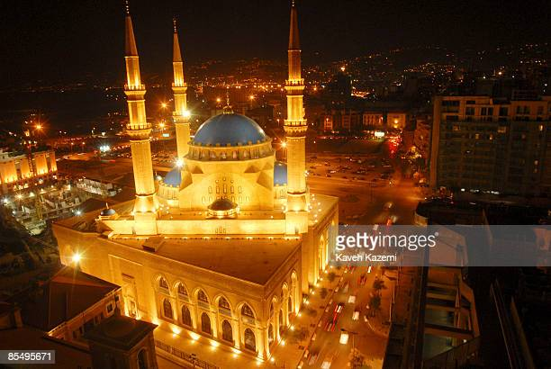 A night shot of Martyrs Square on November 72008 with ongoing traffic and minarets of Mohammad alAmin Mosque rising in the corner of downtown Beirut...