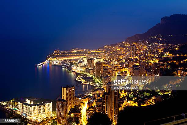 Night shot of Monte Carlo from Cote d'Azur, France