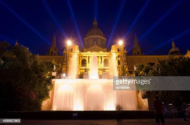Night shot of Museu Nacional d'Art de Catalunya, Barcelona, Spain