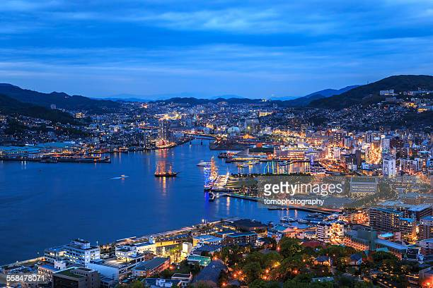 night shot of nagasaki city - nagasaki prefecture stock pictures, royalty-free photos & images