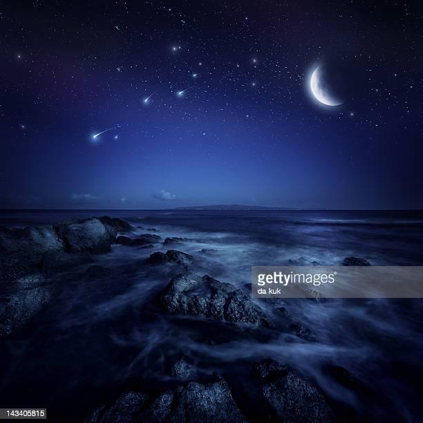 Night shot of sea