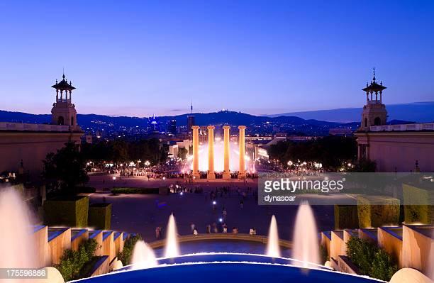 Night shot of the Magic Fountain, Barcelona, Spain