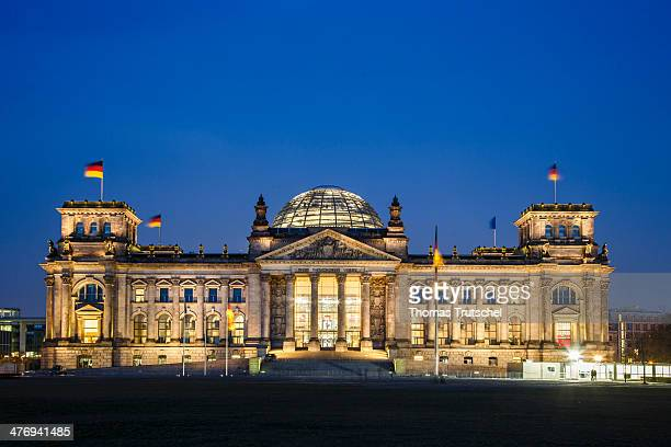 Night shot of the Reichstag Building seat of the German parliament on March 03 2014 in Berlin Germany The Reichstag building is the venue for the...