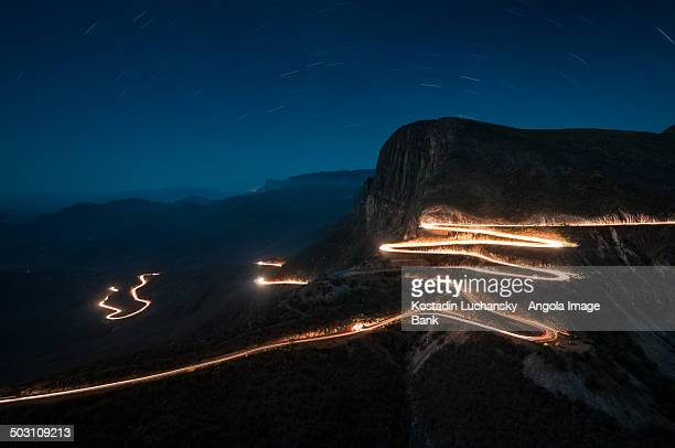 Night shot of the road at Serra da Leba