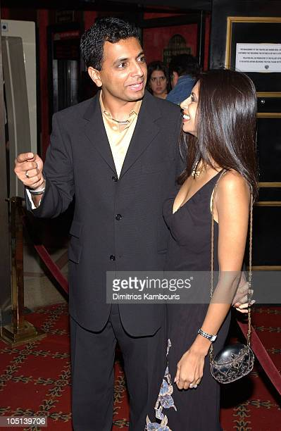 M Night Shyamalan and his wife during Matrix Reloaded New York Premiere Inside Arrivals at Ziegfeld Theater in New York City New York United States
