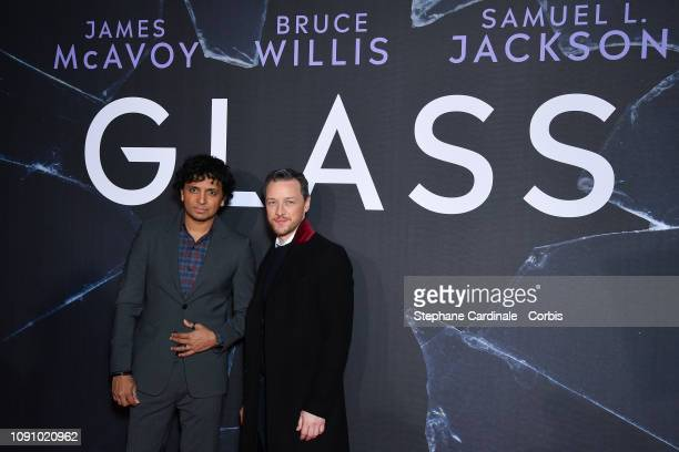 """Night Shyamalan and James McAvoy attend the """"Glass"""" premiere at Cinematheque Francaise on January 07, 2019 in Paris, France."""