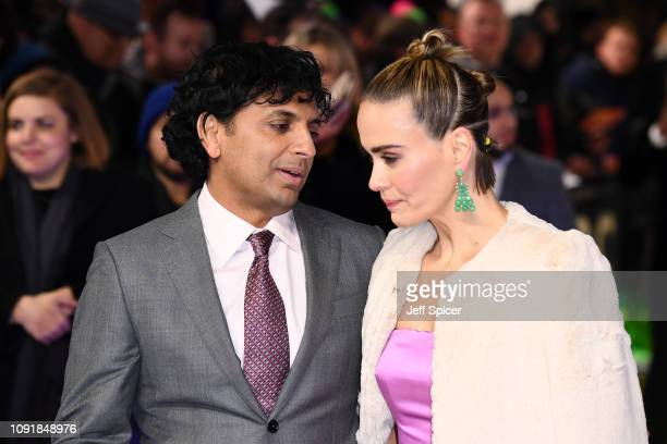 """Night Shyamalan and Sarah Paulson attend the UK Premiere of """"Glass"""" at The Curzon Mayfair on January 09, 2019 in London, England."""