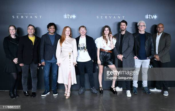 L M Night Shyamalan Lauren Ambrose Rupert Grint Nell Tiger Free Toby Kebbell Tony Basgallop and Ashwin Rajan attend Servant Panel during New York...