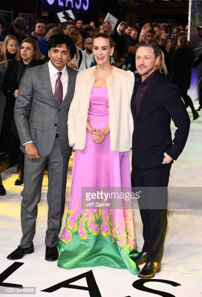 """Night Shyamalan, Sarah Paulson and James McAvoy attend the UK Premiere of """"Glass"""" at The Curzon Mayfair on January 09, 2019 in London, England."""
