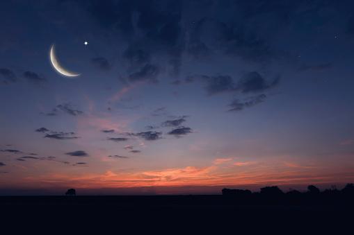 Night sky landscape and moon, stars, Ramadan Kareem celebration 641972892