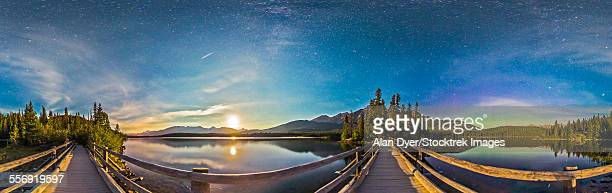 Night sky panorama of Pyramid Lake in Jasper National Park, Canada.