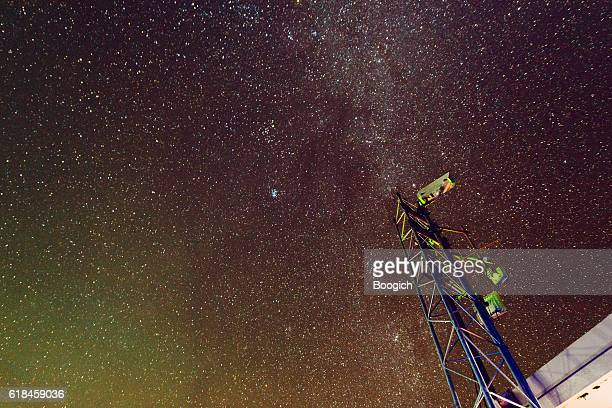 Night Sky Space with Communications Technology Haleakala National Park Maui