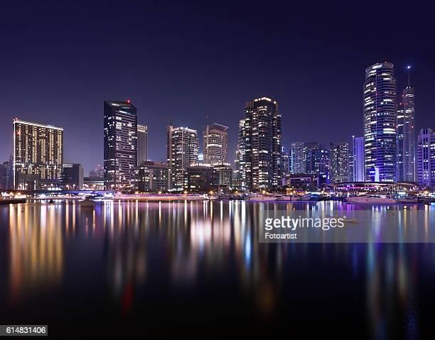 Night skyline of Dubai Marina