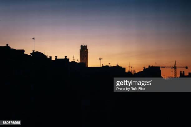 night skyline - provinz lerida stock-fotos und bilder