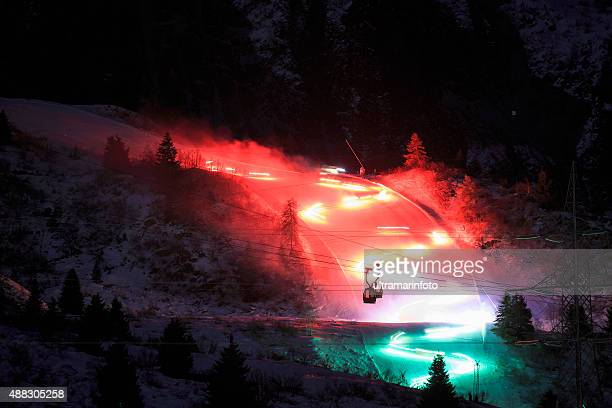night snow skiing   witer high mountain landscape - dolomites stock pictures, royalty-free photos & images